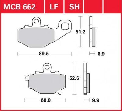 Гальмівні колодки TRW LUCAS MCB 662 LF