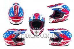Шлем кроссовый MX456 size:L, сине-белый, USA, LS-2