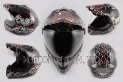 Шлем кроссовый Skull с визором, size:XXL, красный, LS