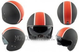 Шлем открытый ,черно-красный матовый, солнцезащитные очки