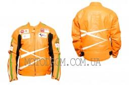 Мотокуртка DAQINESE (кожзам) (size:L, оранжевая)