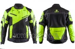 Мотокуртка SCOYCO (текстиль) (size:XL, черно-зеленая, mod:JK