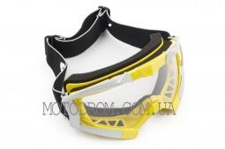 Очки кроссовые (mod:MJ-1017, желтые, прозрачное стекло)