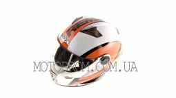 Шлем-интеграл (size:L, бело-оранжево-красный) BEON