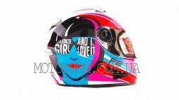 Шлем-интеграл (mod:B-500) (size:L, бело-розово-голубой) BEON